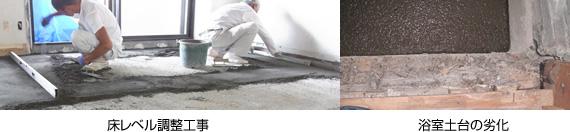 床レベル調整工事/浴室土台の劣化